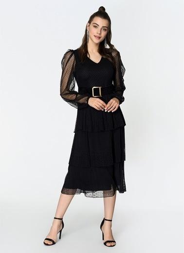 Loves You Tül Flok Puantiyeli Katlı Elbise Siyah